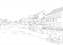 古镇古桥线描插画素材 CDR