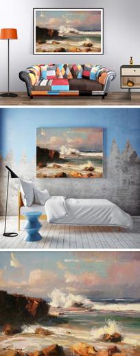 海边海浪油画装饰画