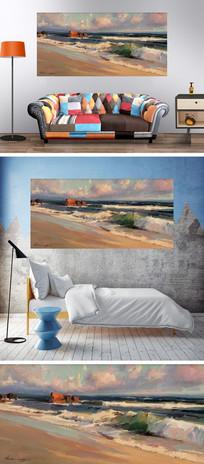 海边沙滩浪花油画装饰画