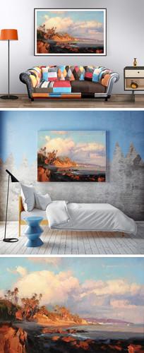 海边椰树油画装饰画