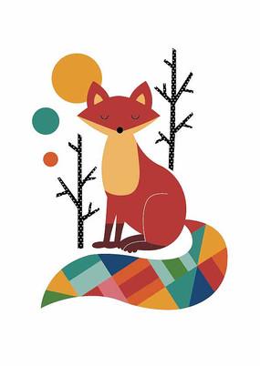 可爱的卡通小动物狐狸矢量插画