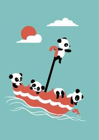 可爱的熊猫小动物矢量插画