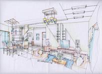 客厅效果图手绘方案