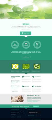 绿色小清新网页模板 PSD