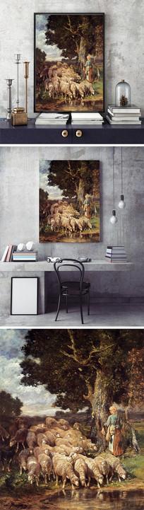 牧羊的少女油画装饰画