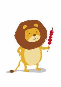 拿糖葫芦的卡通小狮子矢量插画 AI