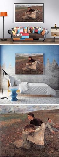 农作的女人油画装饰画