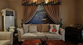 田园风客厅背景墙装饰