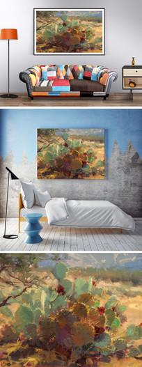 仙人掌油画装饰画