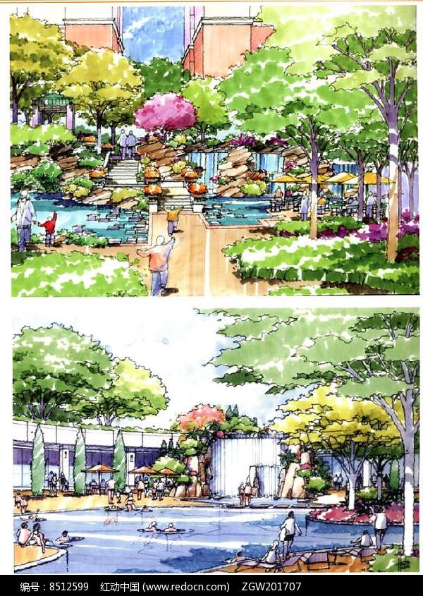 原创设计稿 方案意向 手绘素材 泳池休闲区  请您分享: 红动网提供