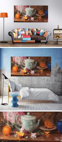 油画茶几水果装饰画