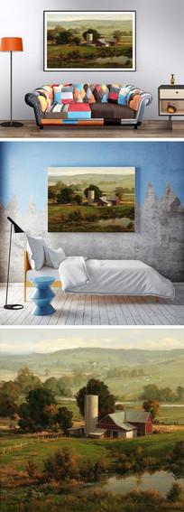 油画牧民房屋装饰画