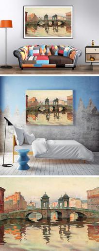 油画三眼桥装饰画