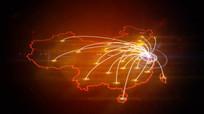 中国地图辐射点线覆盖城市
