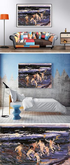 抽象油画海边人物刀画装饰画