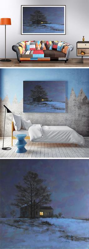 冬天的夜景油画装饰画