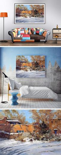 冬天景色油画装饰画 JPG