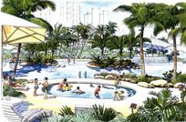 度假村泳池景观手绘效果图