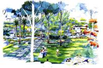 公园休闲区景观效果图