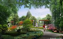 公园醉花廊景观效果图