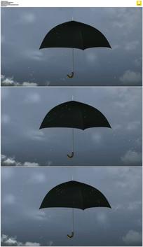 黑色雨伞雨滴动态视频素材
