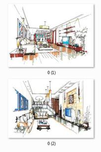 客厅设计手绘彩色效果图