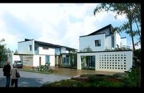 蓝天白云与建筑物景观设计