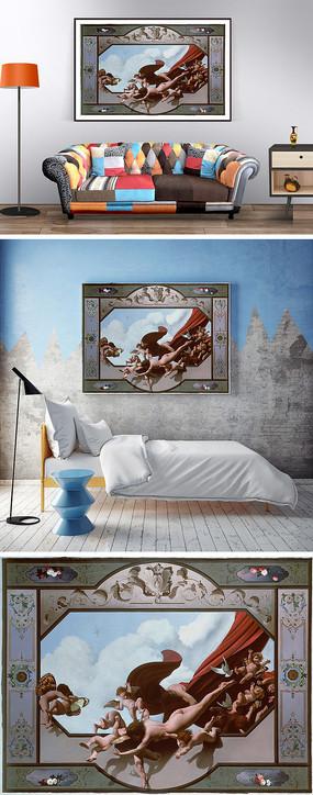 欧式天使油画装饰画