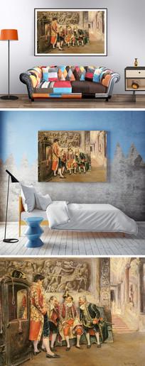 欧式油画骑士装饰画