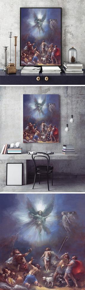 欧式油画神话天使装饰画