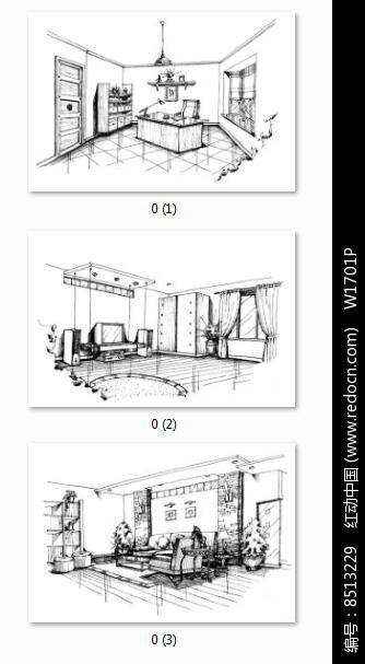 室内设计黑白手绘线稿图片
