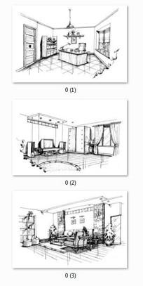 室内设计黑白手绘线稿