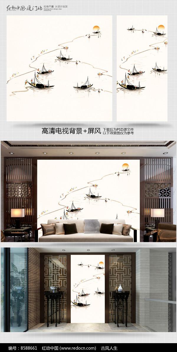 水墨江南工画笔电视背景墙图片