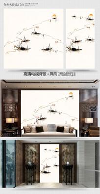 水墨江南工画笔电视背景墙 PSD