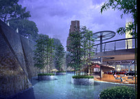 树木竹子与建筑物雨景