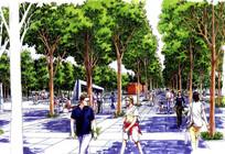 树阵广场手绘效果图