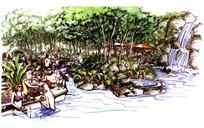 温泉度假村手绘效果图