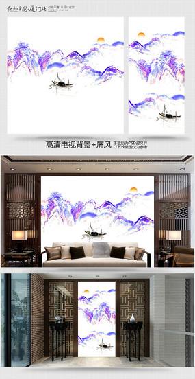 现代彩墨风电视背景墙