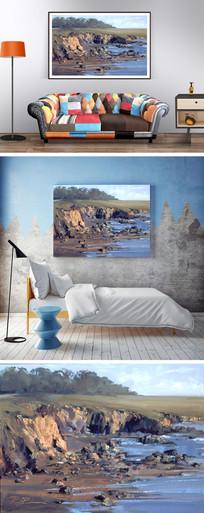 油画抽象海边装饰画 JPG