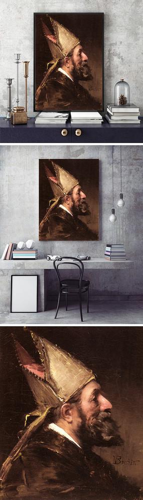 油画传教士装饰画
