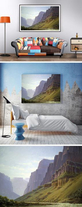 油画大山河边装饰画