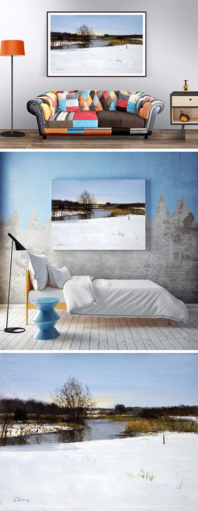 油画冬天的河边装饰画