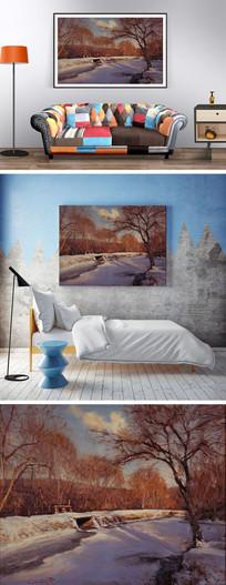 油画冬天的河道装饰画 JPG