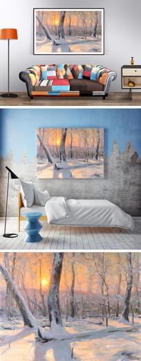 油画冬天的树林装饰画