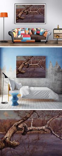 油画河边的枯树装饰画 JPG
