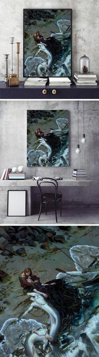 油画美人鱼装饰画 JPG