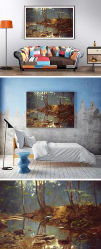 油画树林小溪装饰画