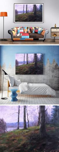 油画树林装饰画