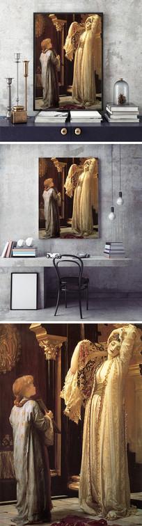 油画照镜子的女人装饰画