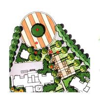 圆形活动广场景观节点彩平